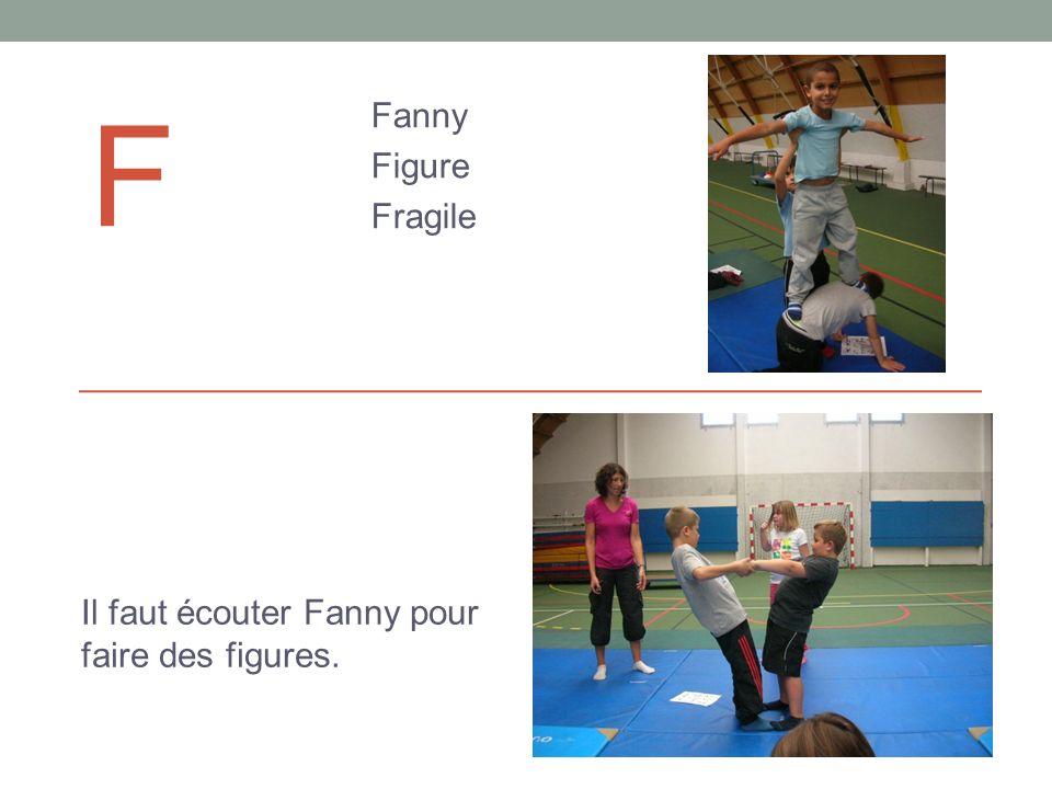 F Fanny Figure Fragile Il faut écouter Fanny pour faire des figures.