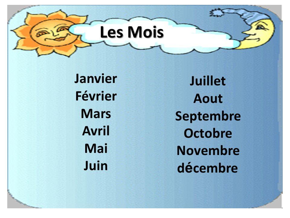 Les Mois Janvier Février Mars Avril Mai Juin Juillet Aout Septembre Octobre Novembre d é cembre