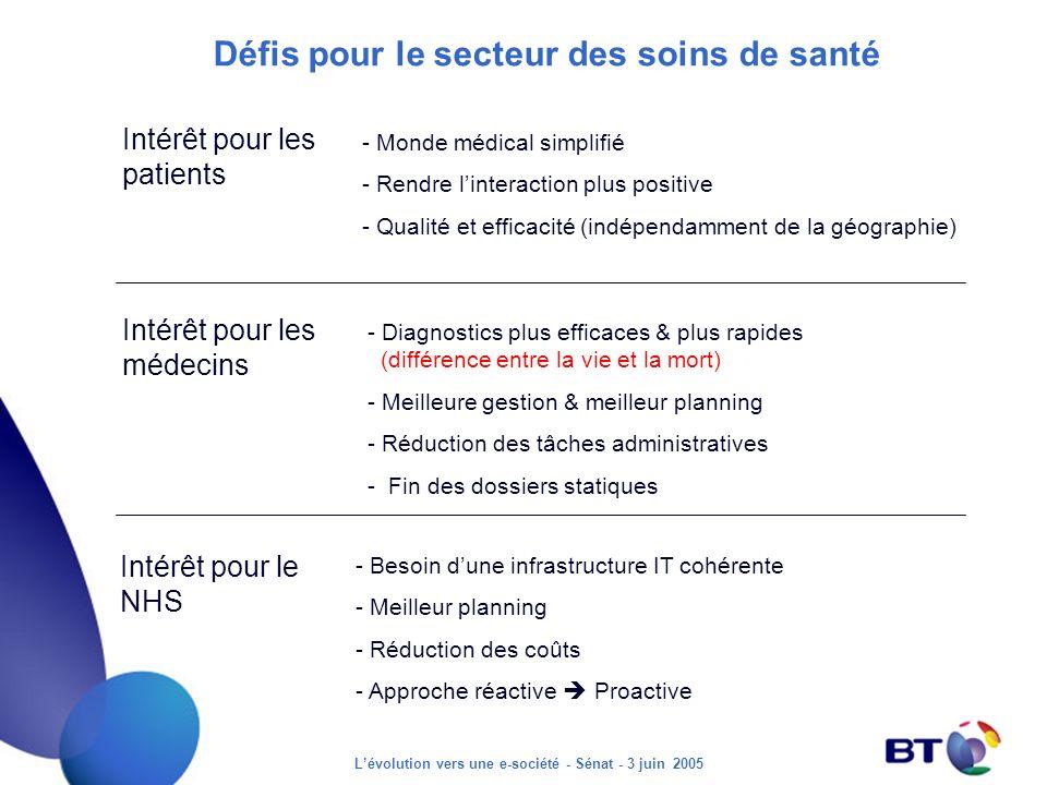 Lévolution vers une e-société - Sénat - 3 juin 2005 Défis pour le secteur des soins de santé Intérêt pour les patients - Monde médical simplifié - Ren