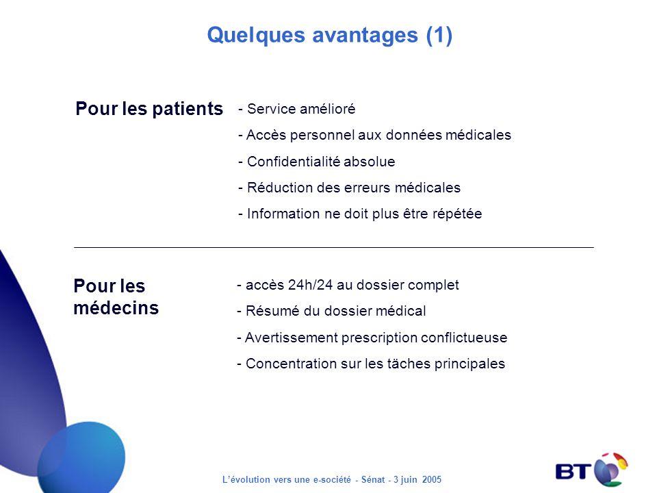 Lévolution vers une e-société - Sénat - 3 juin 2005 Quelques avantages (1) Pour les patients - Service amélioré - Accès personnel aux données médicale