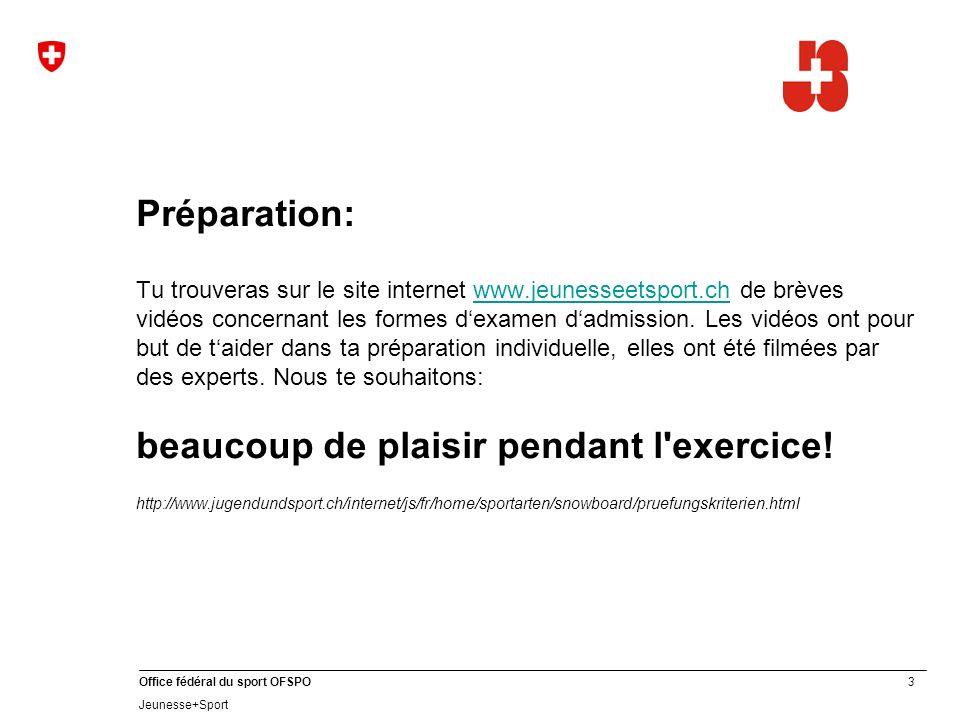 3 Office fédéral du sport OFSPO Jeunesse+Sport Préparation: Tu trouveras sur le site internet www.jeunesseetsport.ch de brèves vidéos concernant les formes dexamen dadmission.