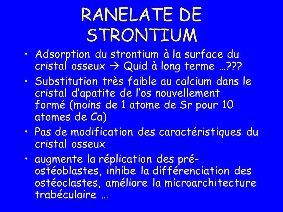 RANELATE DE STRONTIUM Adsorption du strontium à la surface du cristal osseux Quid à long terme …??? Substitution très faible au calcium dans le crista