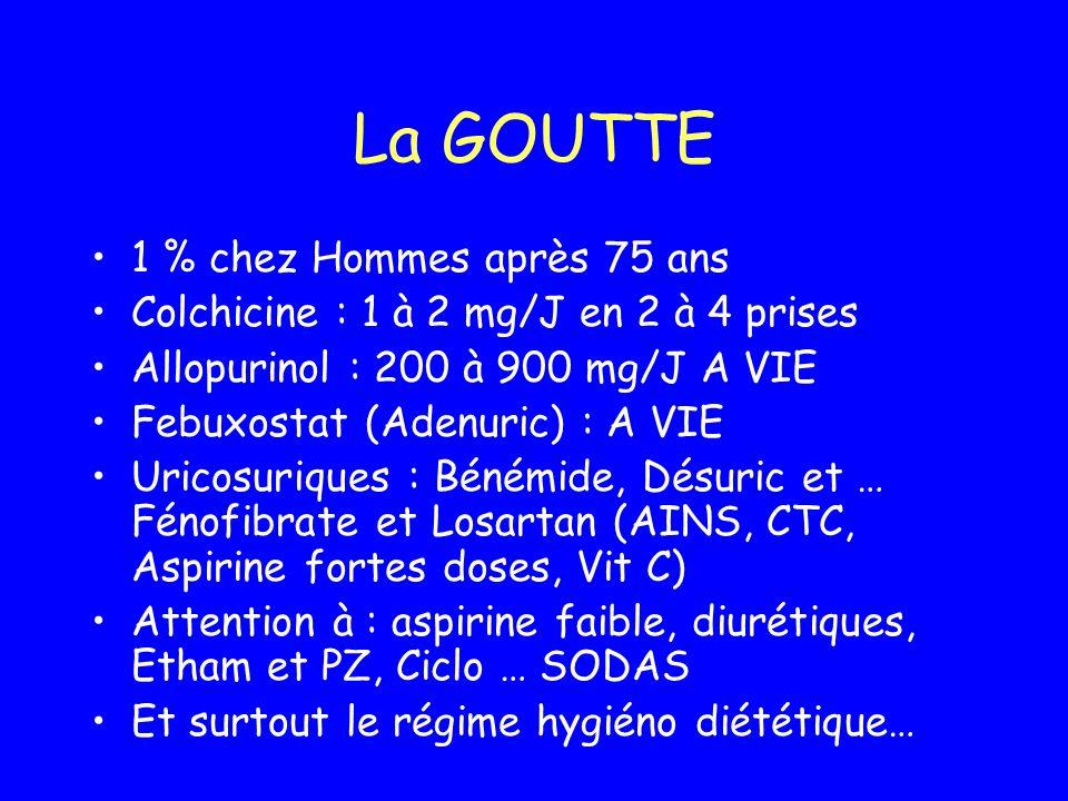 La GOUTTE 1 % chez Hommes après 75 ans Colchicine : 1 à 2 mg/J en 2 à 4 prises Allopurinol : 200 à 900 mg/J A VIE Febuxostat (Adenuric) : A VIE Uricos