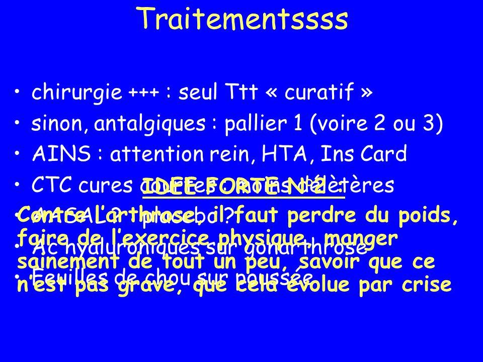 Traitementssss chirurgie +++ : seul Ttt « curatif » sinon, antalgiques : pallier 1 (voire 2 ou 3) AINS : attention rein, HTA, Ins Card CTC cures court