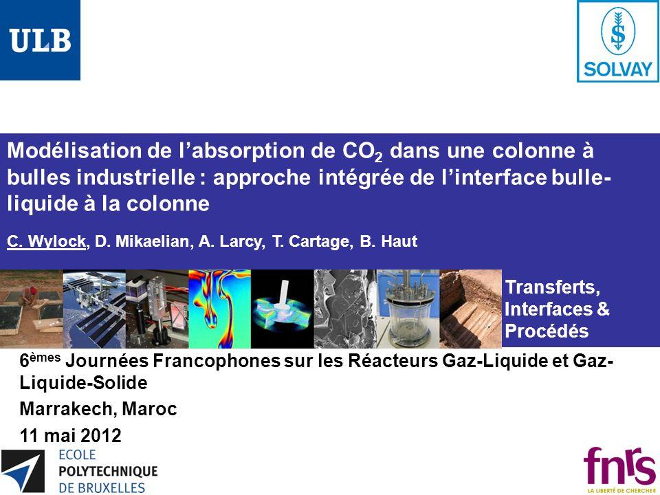 Modélisation de labsorption de CO 2 dans une colonne à bulles industrielle : approche intégrée de linterface bulle- liquide à la colonne C. Wylock, D.