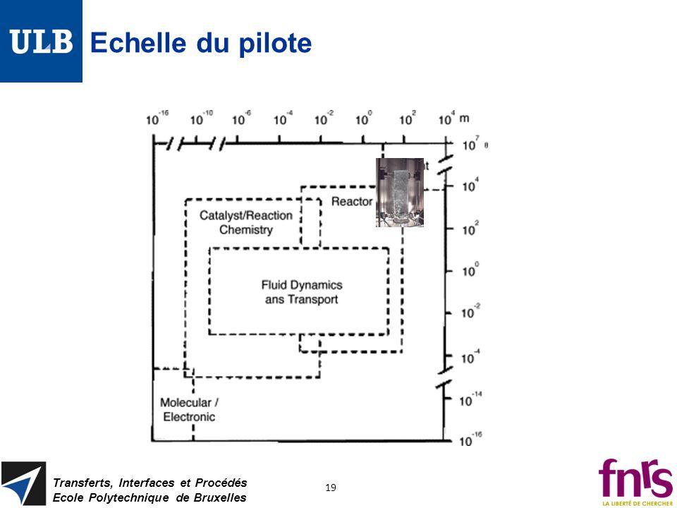 Echelle du pilote Transferts, Interfaces et Procédés Ecole Polytechnique de Bruxelles 19
