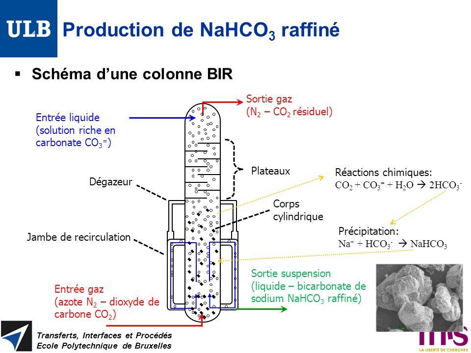 Production de NaHCO 3 raffiné Schéma dune colonne BIR Transferts, Interfaces et Procédés Ecole Polytechnique de Bruxelles Plateaux Corps cylindrique D