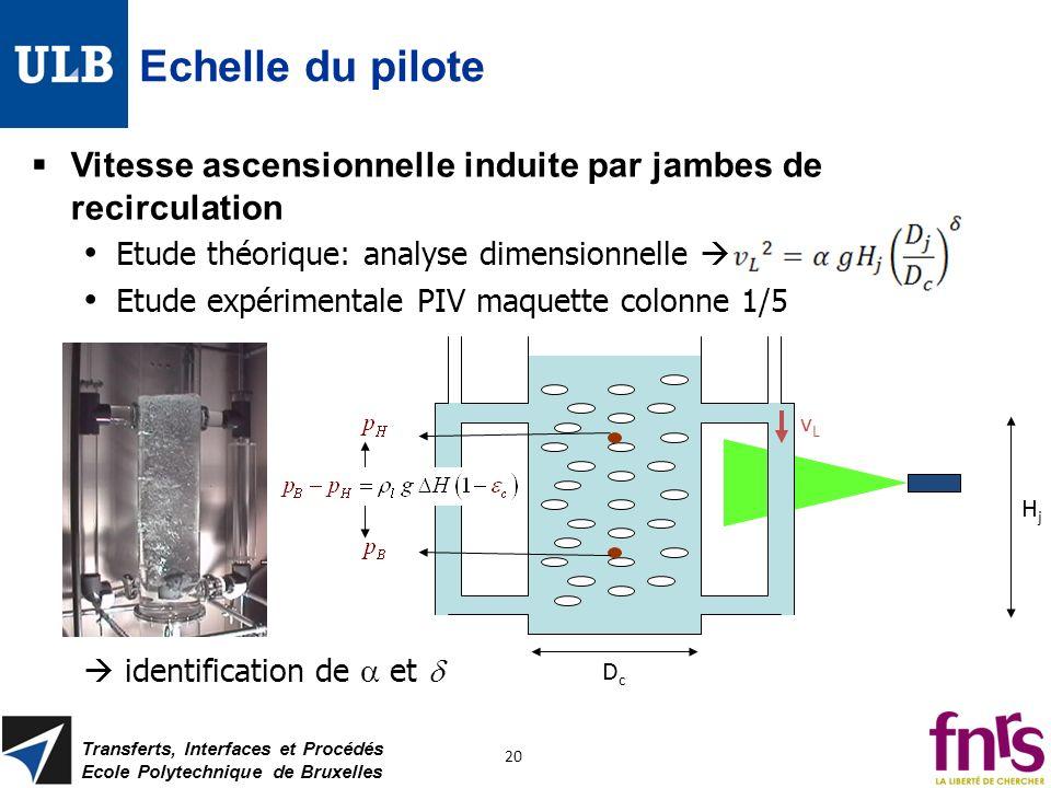 Echelle du pilote Vitesse ascensionnelle induite par jambes de recirculation Etude théorique: analyse dimensionnelle Etude expérimentale PIV maquette