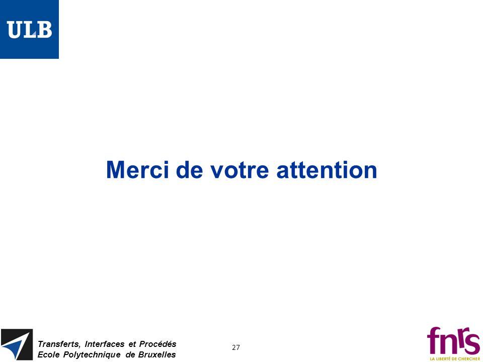 Transferts, Interfaces et Procédés Ecole Polytechnique de Bruxelles 27 Merci de votre attention
