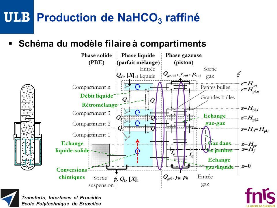 Production de NaHCO 3 raffiné Schéma du modèle filaire à compartiments Transferts, Interfaces et Procédés Ecole Polytechnique de Bruxelles
