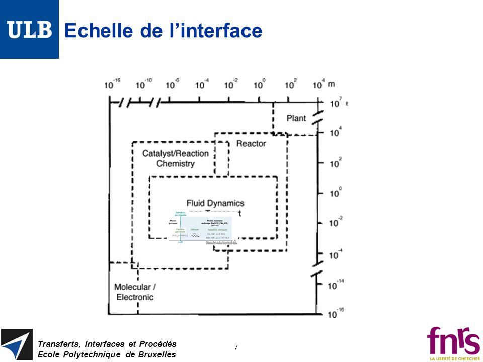 Echelle de linterface Transferts, Interfaces et Procédés Ecole Polytechnique de Bruxelles 7