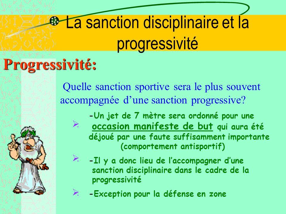 La sanction disciplinaire et la progressivité Disciplinaire: Rentré prématurée dun joueur exclu -Un joueur exclu qui rentre prématurément se verra inf