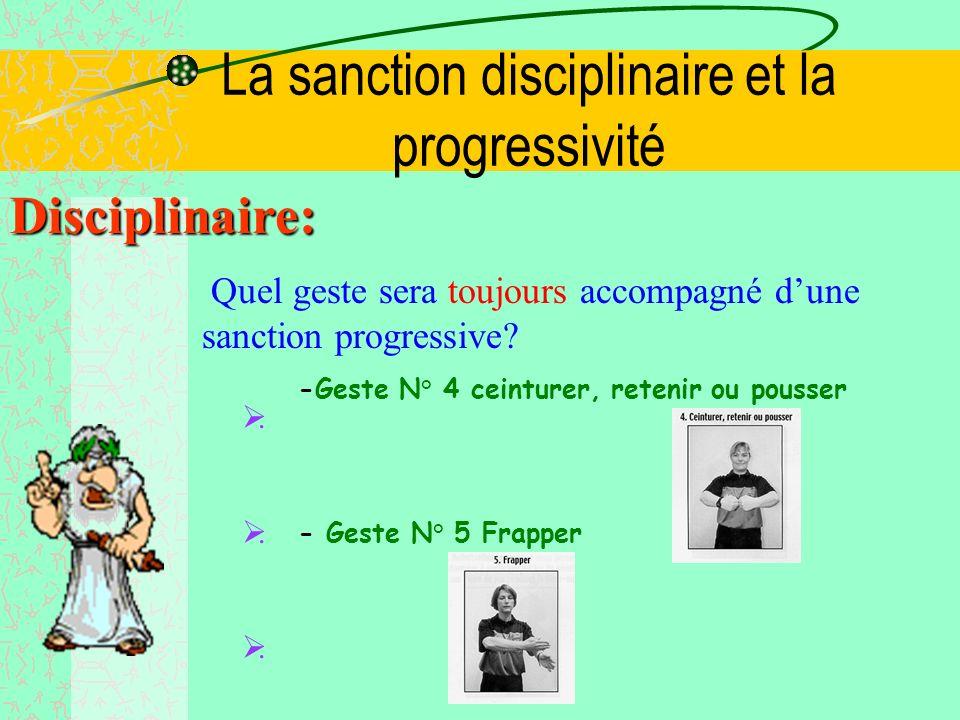 La sanction disciplinaire et la progressivité Progressivité: Quelle sanction sportive sera le plus souvent accompagnée dune sanction progressive? -Un