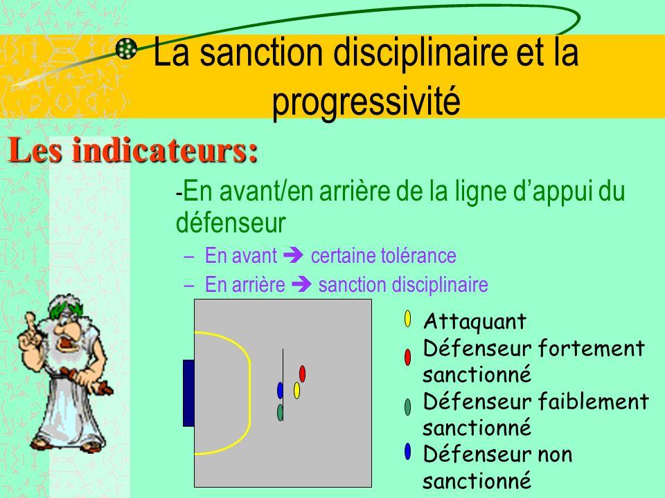La sanction disciplinaire et la progressivité Les indicateurs: -Dans ou hors du couloir de jeu direct –Dans CJD certaine tolérance –Hors CJD sanction