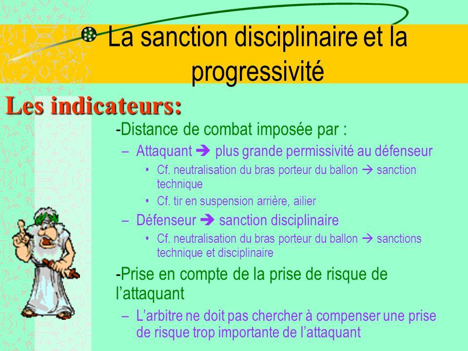 La sanction disciplinaire et la progressivité Les indicateurs: - En avant/en arrière de la ligne dappui du défenseur –En avant certaine tolérance –En