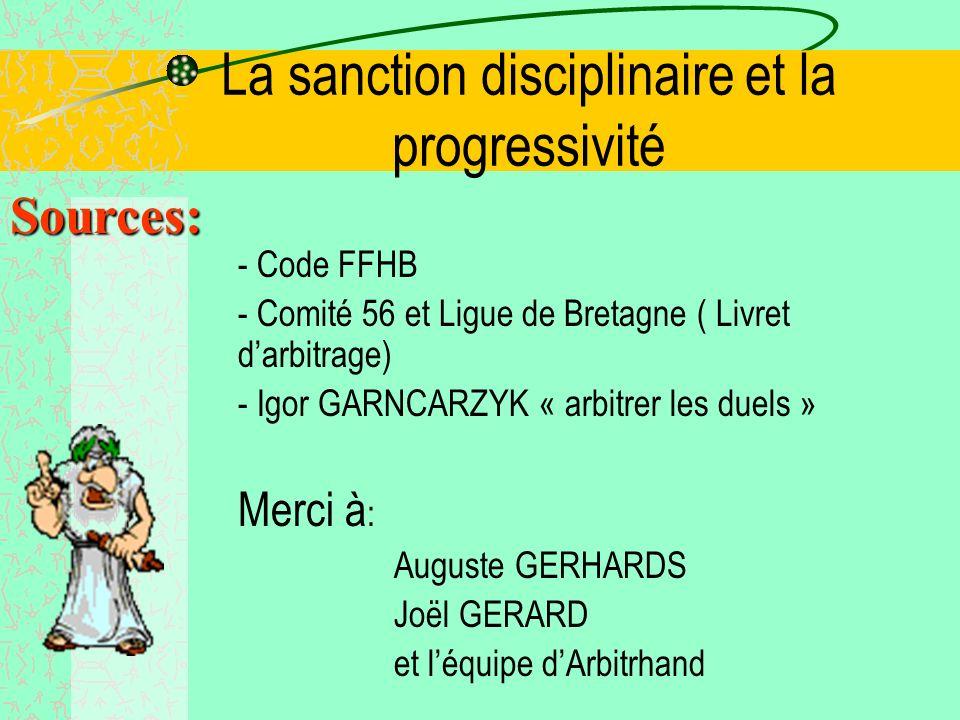 La sanction disciplinaire et la progressivité Les indicateurs: -Distance de combat imposée par : –Attaquant plus grande permissivité au défenseur Cf.