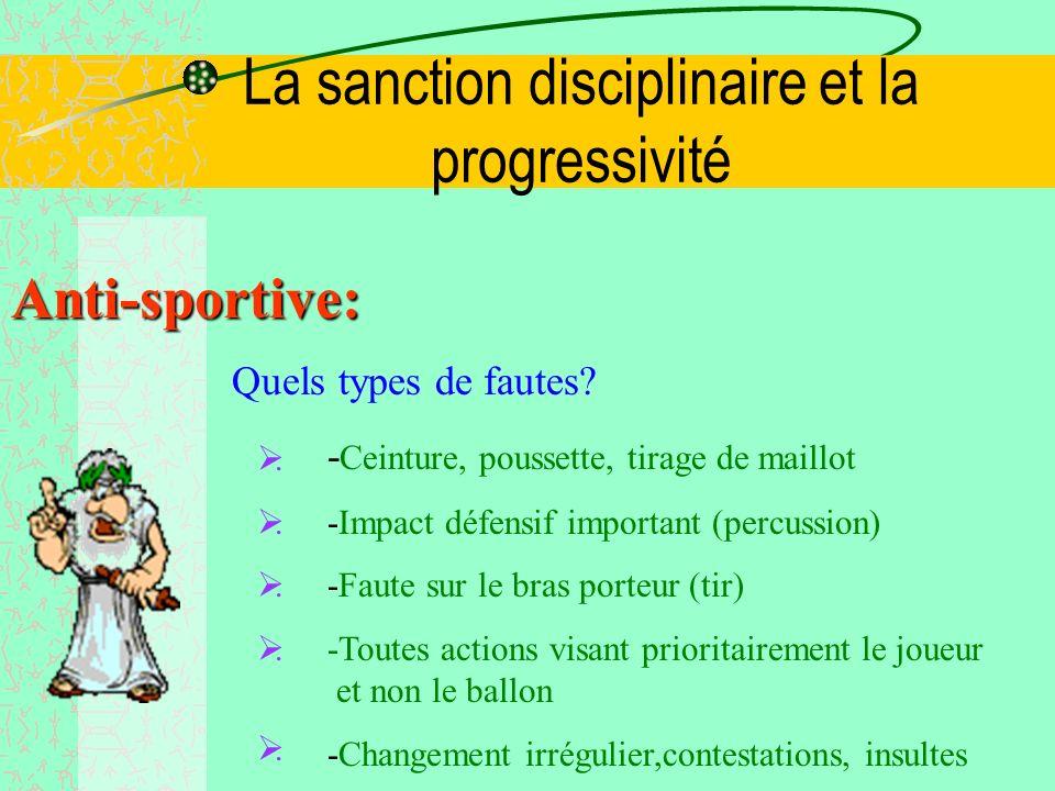 La sanction disciplinaire et la progressivité Répétitivité: Quels types de fautes? - Mauvais contrôle -Blocage du bras, petite ceinture -Défense avec