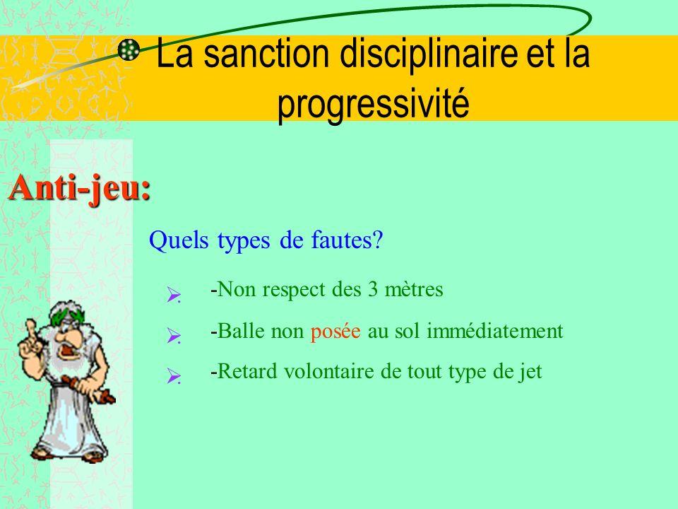 La sanction disciplinaire et la progressivité Anti-jeu: Quels types de fautes.