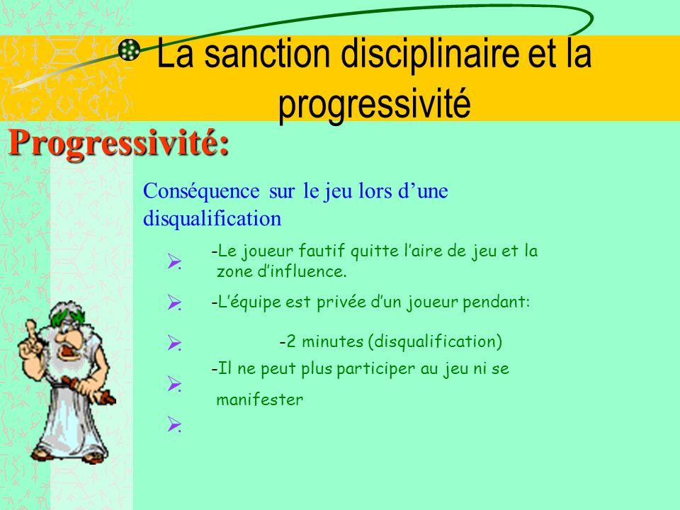 La sanction disciplinaire et la progressivité Progressivité: Echelle des Sanctions LExpulsion est remplacée par une disqualification avec Rapport avec