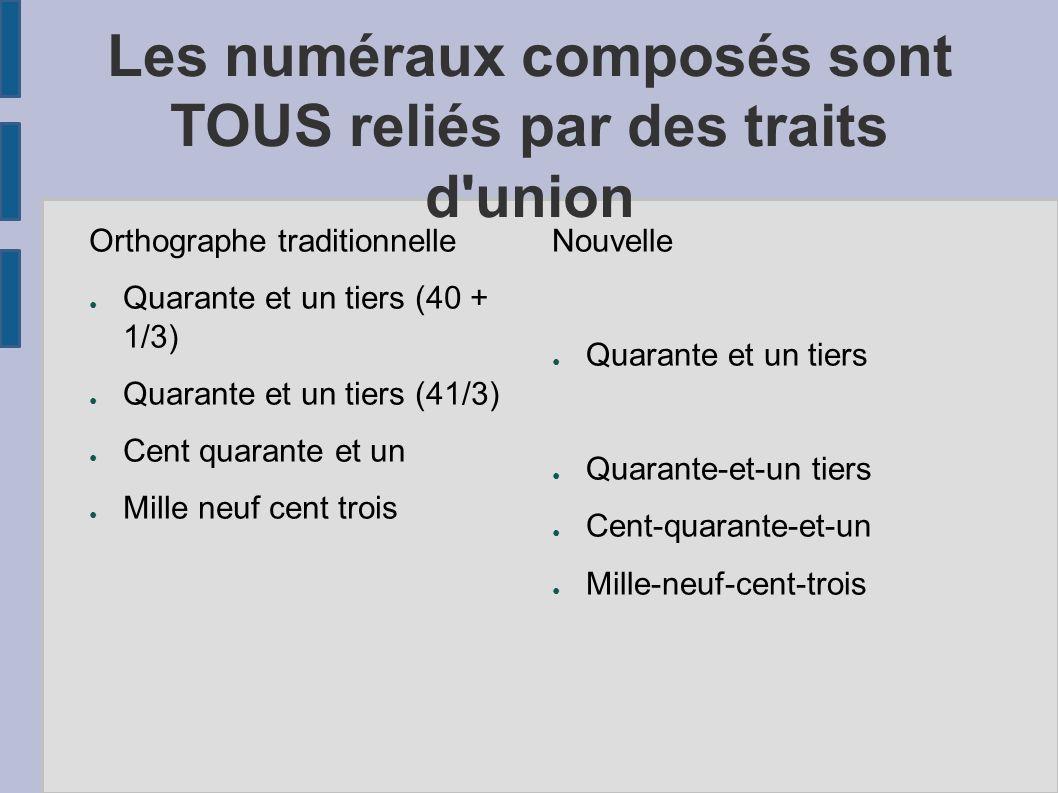 Les numéraux composés sont TOUS reliés par des traits d'union Orthographe traditionnelle Quarante et un tiers (40 + 1/3) Quarante et un tiers (41/3) C