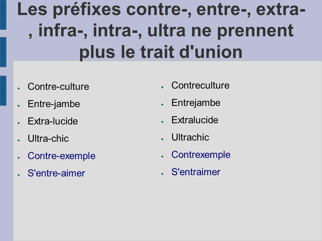 Les préfixes contre-, entre-, extra-, infra-, intra-, ultra ne prennent plus le trait d'union Contre-culture Entre-jambe Extra-lucide Ultra-chic Contr