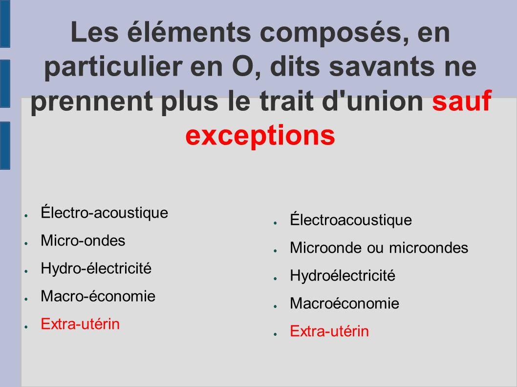 Les éléments composés, en particulier en O, dits savants ne prennent plus le trait d'union sauf exceptions Électro-acoustique Micro-ondes Hydro-électr