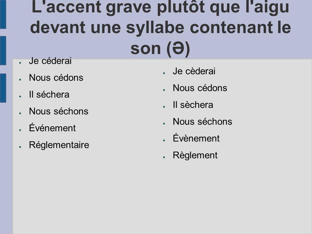 L'accent grave plutôt que l'aigu devant une syllabe contenant le son (Ə) Je céderai Nous cédons Il séchera Nous séchons Événement Réglementaire Je cèd