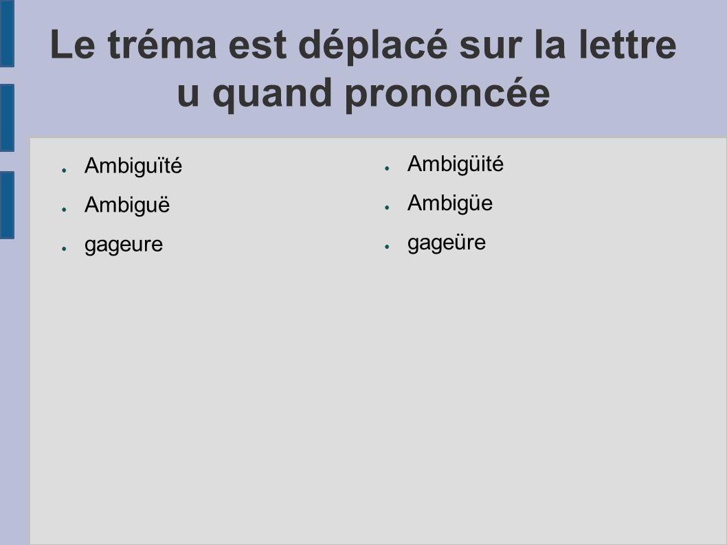 Le tréma est déplacé sur la lettre u quand prononcée Ambiguïté Ambiguë gageure Ambigüité Ambigüe gageüre