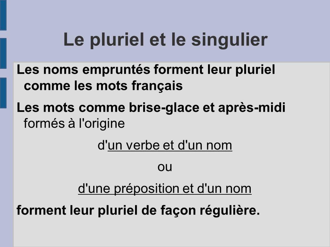 Le pluriel et le singulier Les noms empruntés forment leur pluriel comme les mots français Les mots comme brise-glace et après-midi formés à l'origine