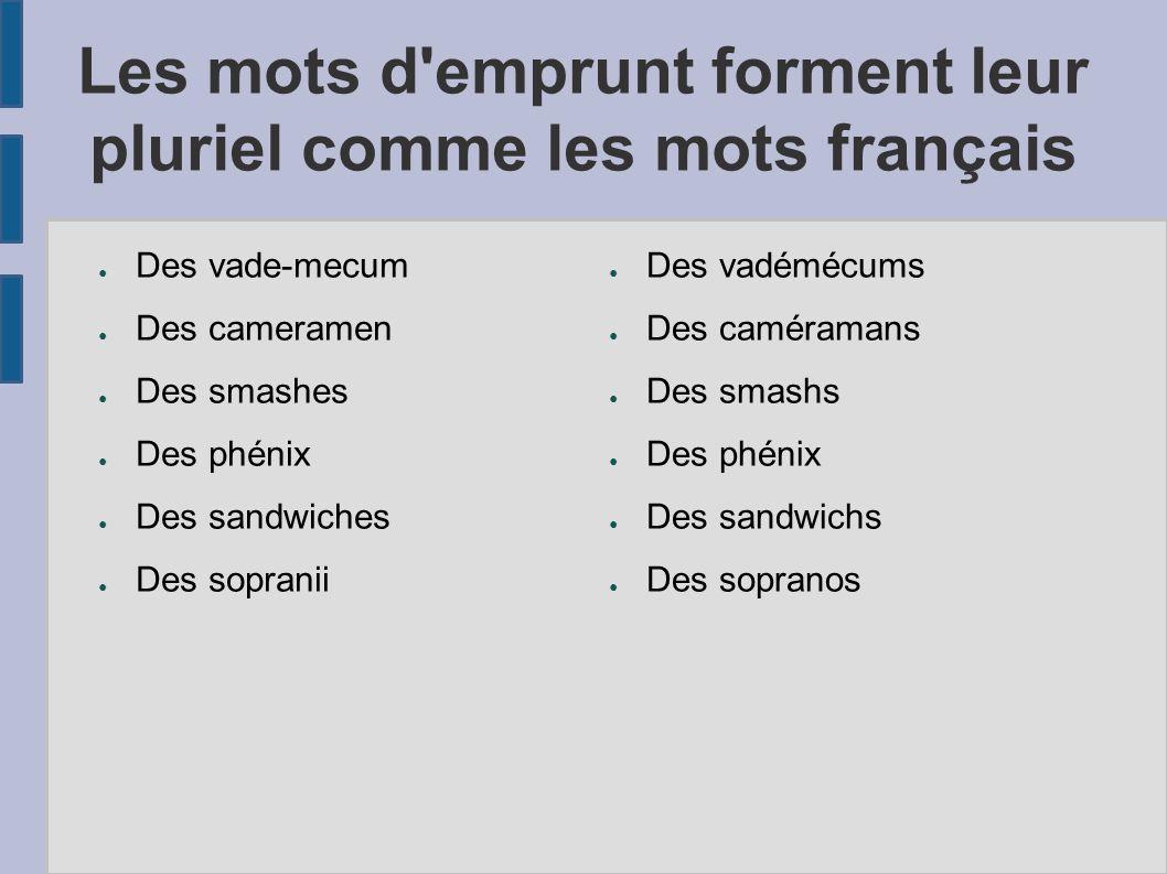 Les mots d'emprunt forment leur pluriel comme les mots français Des vade-mecum Des cameramen Des smashes Des phénix Des sandwiches Des sopranii Des va