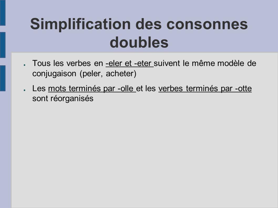 Simplification des consonnes doubles Tous les verbes en -eler et -eter suivent le même modèle de conjugaison (peler, acheter) Les mots terminés par -o