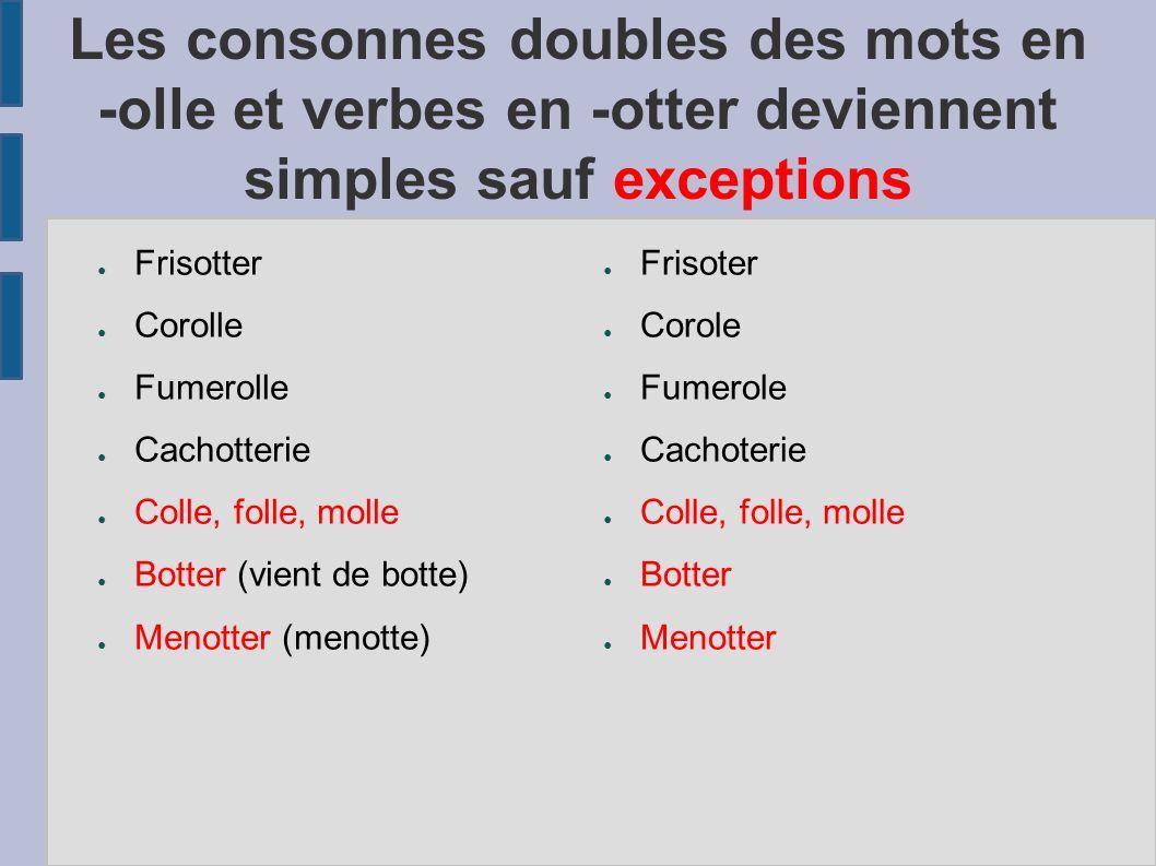 Les consonnes doubles des mots en -olle et verbes en -otter deviennent simples sauf exceptions Frisotter Corolle Fumerolle Cachotterie Colle, folle, m