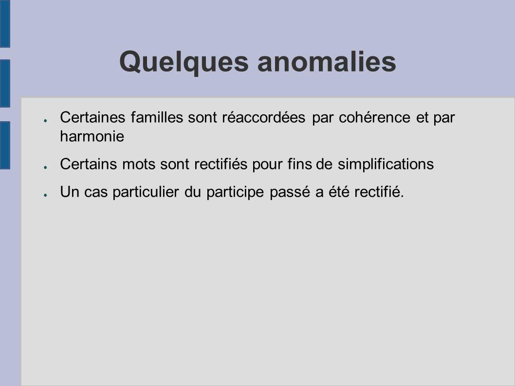 Quelques anomalies Certaines familles sont réaccordées par cohérence et par harmonie Certains mots sont rectifiés pour fins de simplifications Un cas