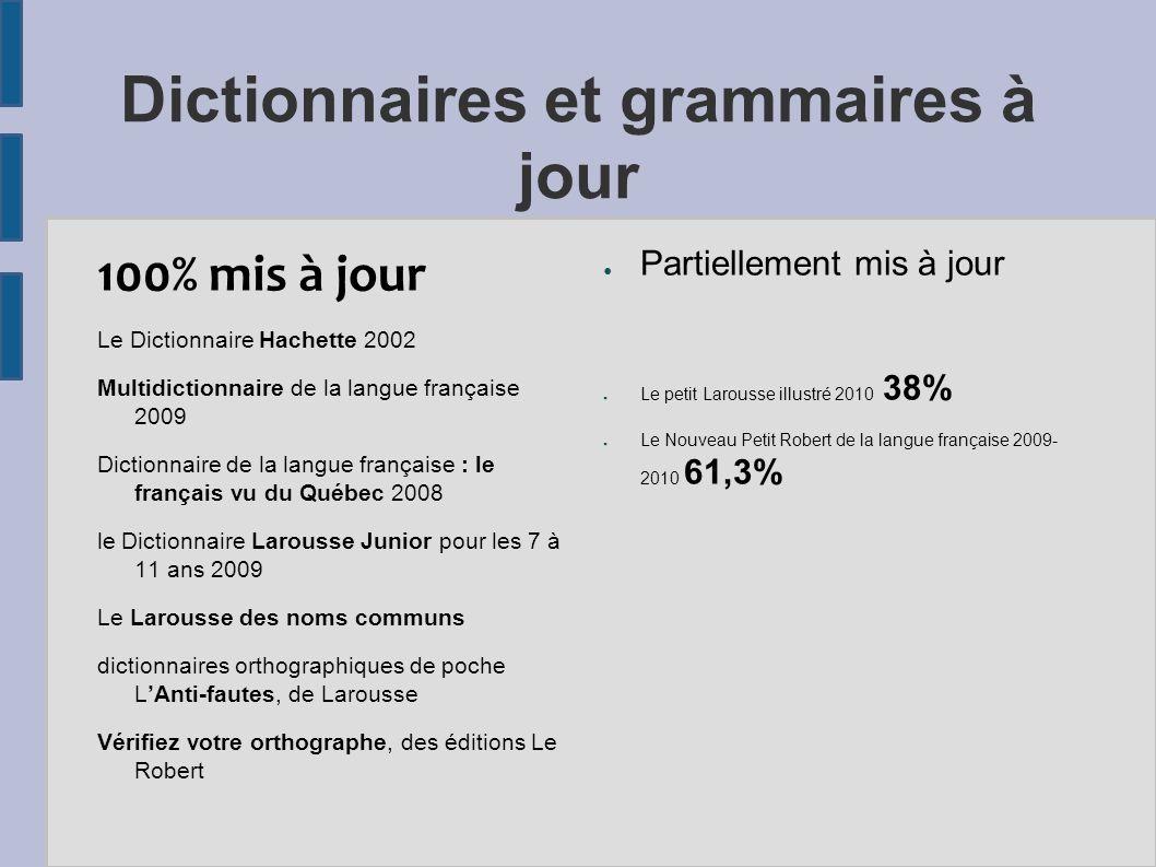 Dictionnaires et grammaires à jour 100% mis à jour Le Dictionnaire Hachette 2002 Multidictionnaire de la langue française 2009 Dictionnaire de la lang