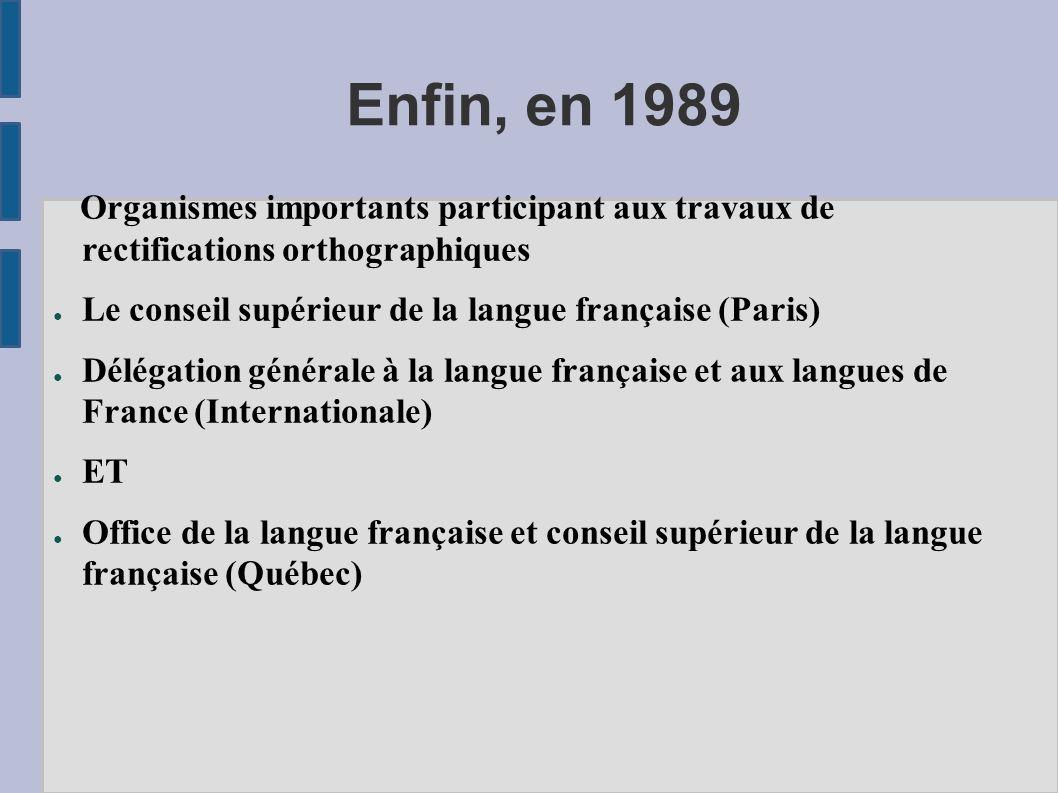 Enfin, en 1989 Organismes importants participant aux travaux de rectifications orthographiques Le conseil supérieur de la langue française (Paris) Dél