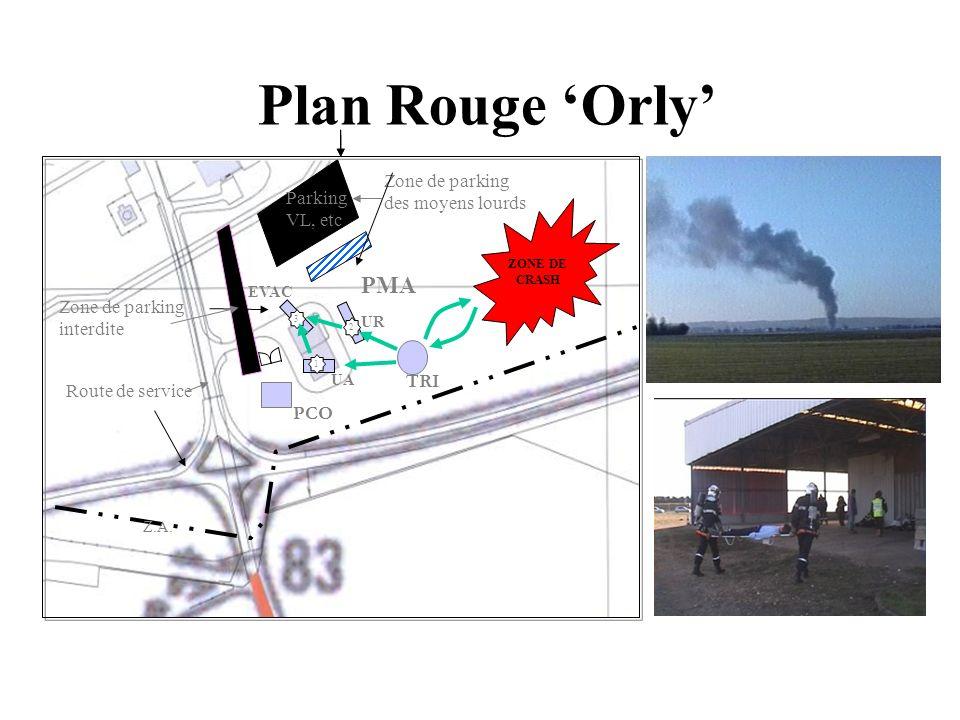 Plan Rouge Orly Route de service ZONE DE CRASH 1 2 3 Z.A. Parking VL, etc. Zone de parking des moyens lourds Zone de parking interdite PMA EVAC UA UR