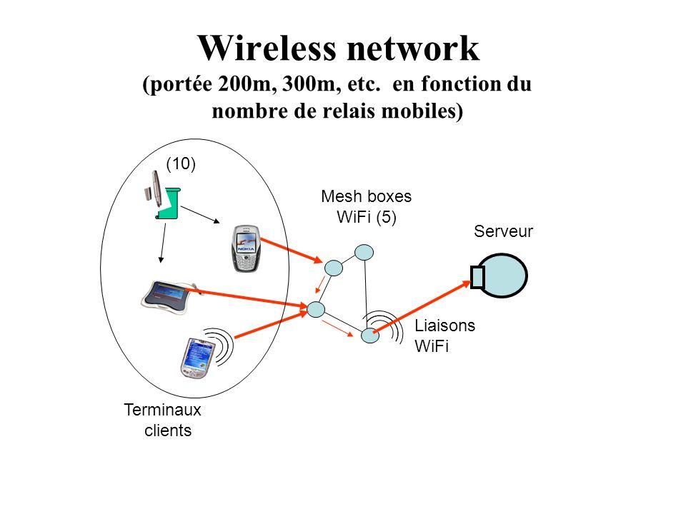 Wireless network (portée 200m, 300m, etc. en fonction du nombre de relais mobiles) Serveur Mesh boxes WiFi (5) Terminaux clients Liaisons WiFi (10)