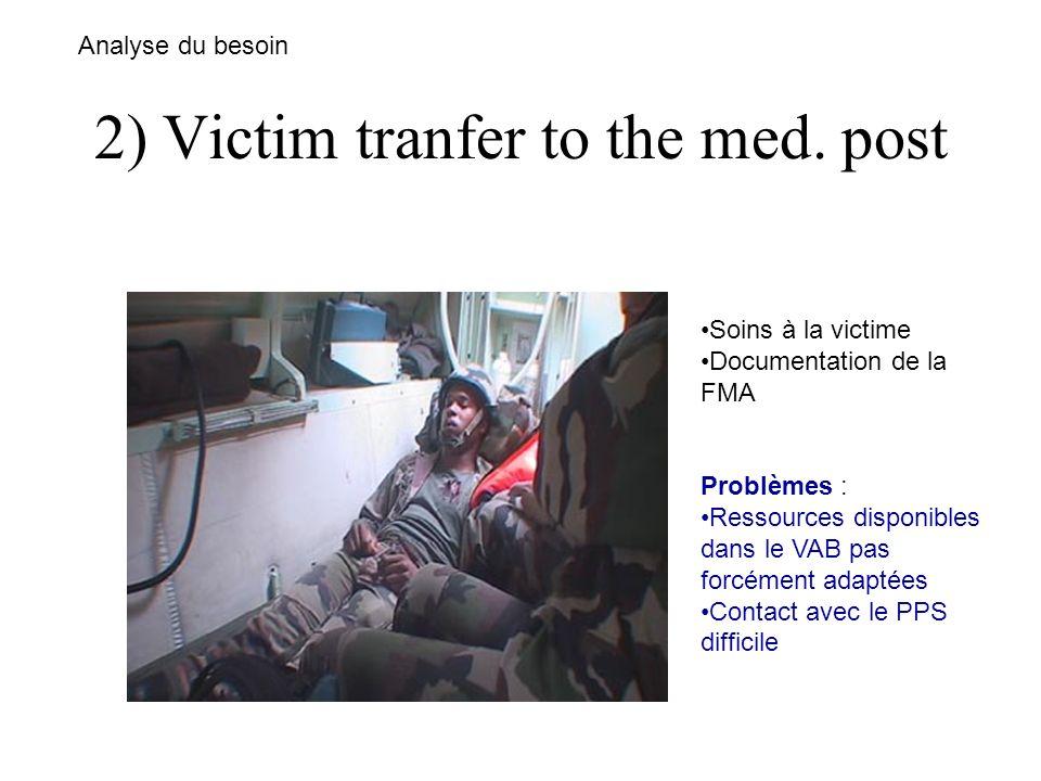 2) Victim tranfer to the med. post Analyse du besoin Soins à la victime Documentation de la FMA Problèmes : Ressources disponibles dans le VAB pas for