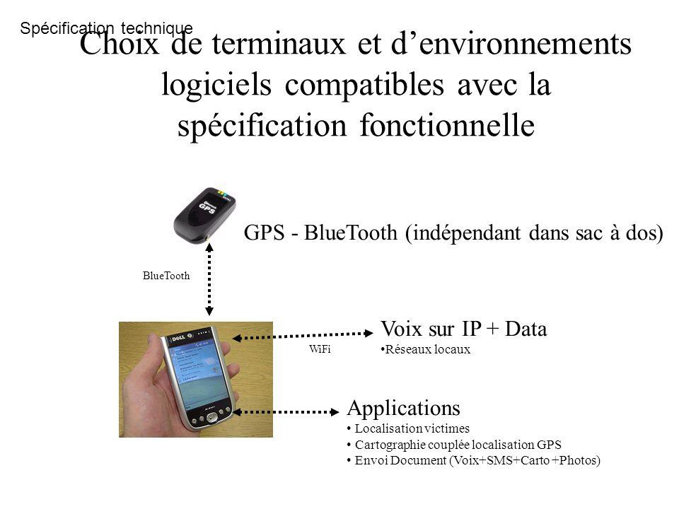 BlueTooth GPS - BlueTooth (indépendant dans sac à dos) WiFi Voix sur IP + Data Réseaux locaux Applications Localisation victimes Cartographie couplée
