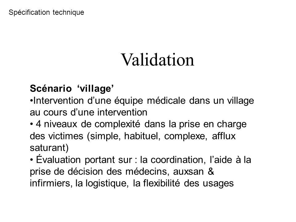 Validation Scénario village Intervention dune équipe médicale dans un village au cours dune intervention 4 niveaux de complexité dans la prise en char