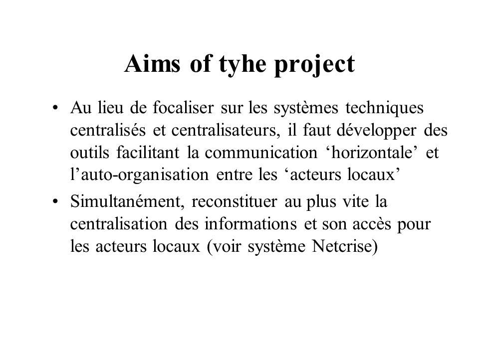 Aims of tyhe project Au lieu de focaliser sur les systèmes techniques centralisés et centralisateurs, il faut développer des outils facilitant la comm