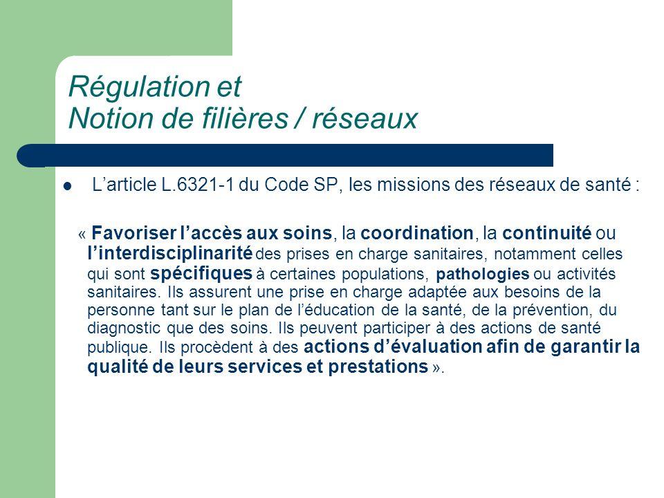 Régulation et Notion de filières / réseaux Larticle L.6321-1 du Code SP, les missions des réseaux de santé : « Favoriser laccès aux soins, la coordina