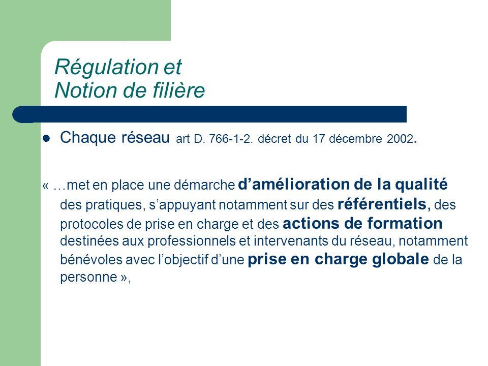 Chaque réseau art D. 766-1-2. décret du 17 décembre 2002. « …met en place une démarche damélioration de la qualité des pratiques, sappuyant notamment