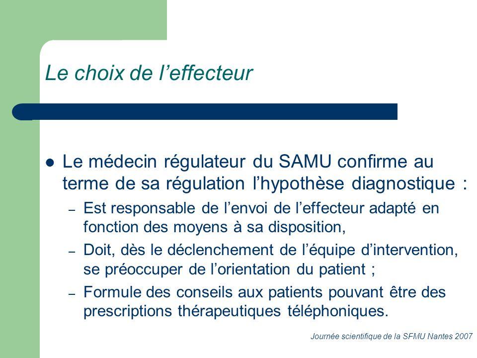 Le médecin régulateur du SAMU confirme au terme de sa régulation lhypothèse diagnostique : – Est responsable de lenvoi de leffecteur adapté en fonctio