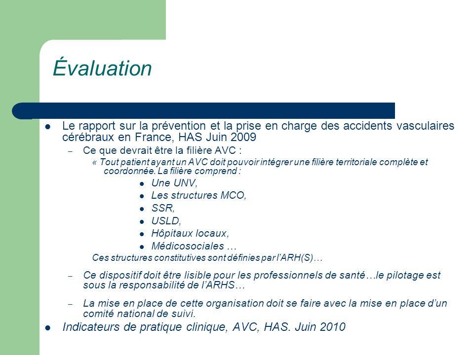 Le rapport sur la prévention et la prise en charge des accidents vasculaires cérébraux en France, HAS Juin 2009 – Ce que devrait être la filière AVC :