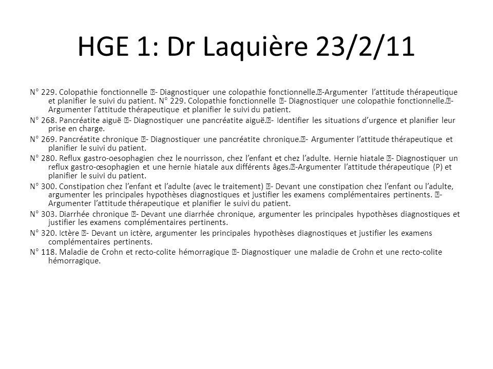 HGE 1: Dr Laquière 23/2/11 N° 229.