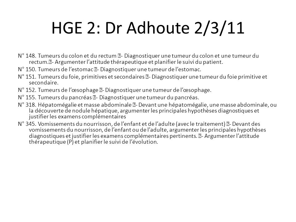 HGE 2: Dr Adhoute 2/3/11 N° 148.