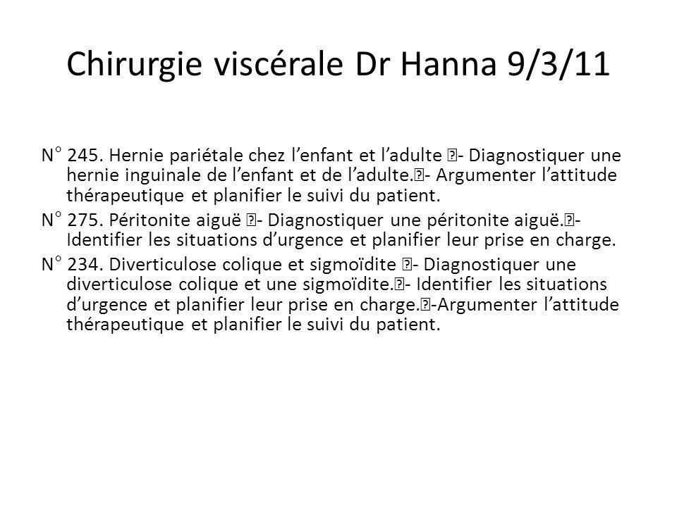 Chirurgie viscérale Dr Hanna 9/3/11 N° 245.