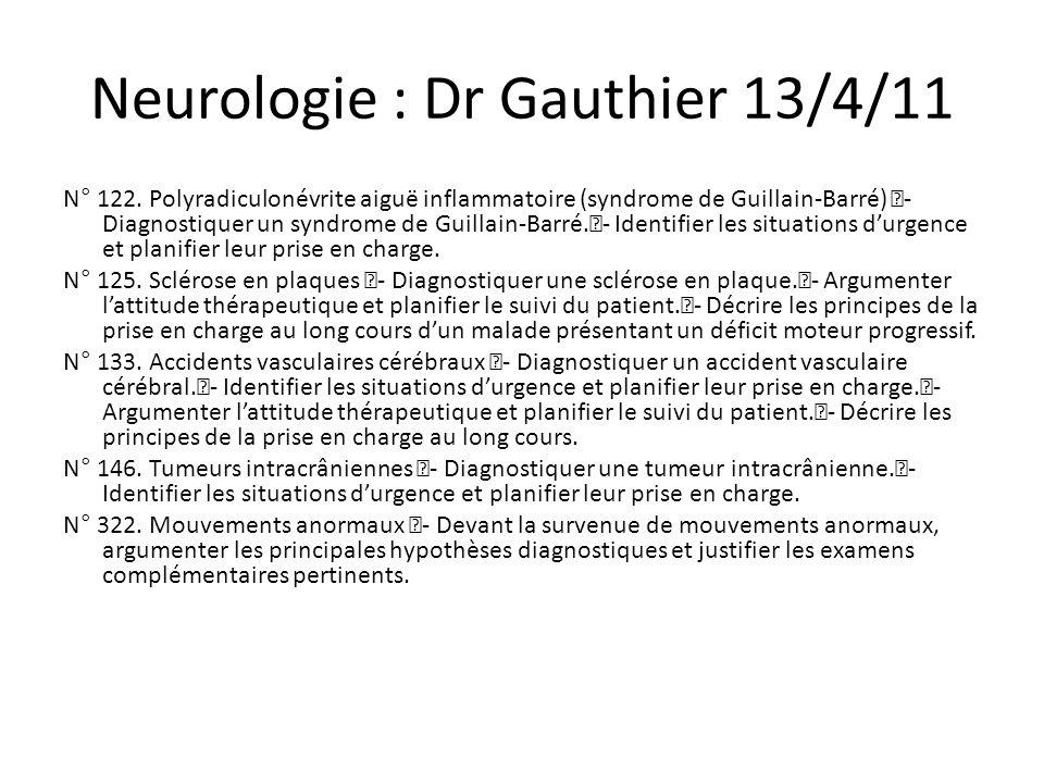 Cancérologie: Dr Tabouret 20/4/11 N° 138.