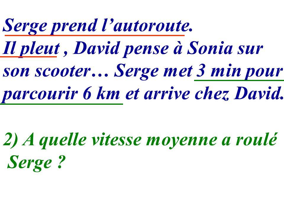 Serge prend lautoroute. Il pleut, David pense à Sonia sur son scooter… Serge met 3 min pour parcourir 6 km et arrive chez David. 2) A quelle vitesse m